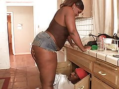 BBW Ebony Tricks Plumber Into Hard Fucking
