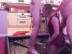 Golden Showers, 2 Essex Boys piss on an Essex Slut in Satin